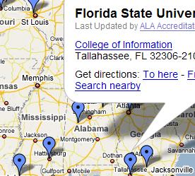 Map of ALA-accredited MLIS programs